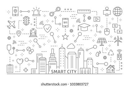 Smart city icons set. Line art and illustrations.