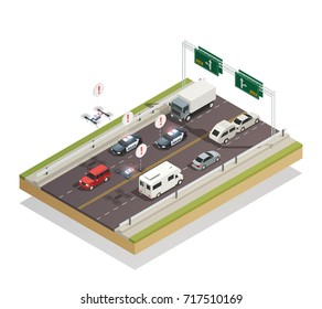Smart city infrastructure technology connecting and controlling cars buses trucks and drones traffic isometric composition vector illustration