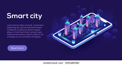 Smart city or intelligent building isometric vector concept. Building automation with computer networking illustration. Management system or BAS thematical background. IoT platform future technology.