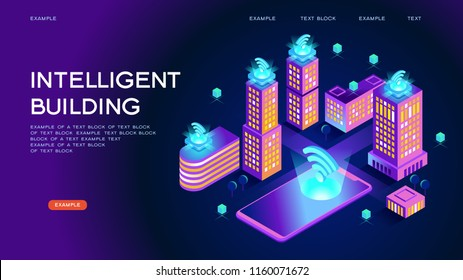 Smart city or intelligent building isometric vector concept. Smart home control concept. Concept home with technology system. 3d isometric vector illustration.