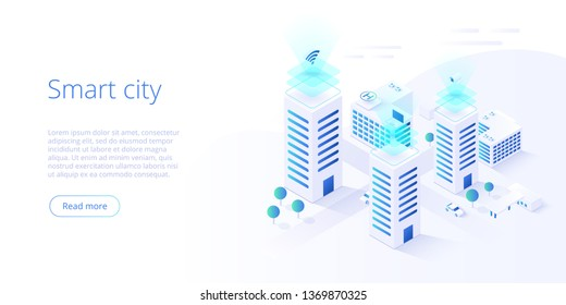 Smart city or intelligent building isometric vector concept. Building automation with computer networking illustration. Management system thematical background. IoT platform as future technology.