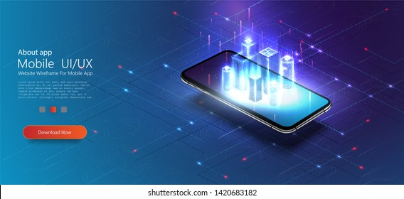 Smart city or intelligent building isometric vector concept IOT. Digital hologram of smart city on the screen of smartphone with Internet of things. Polygonal wireframe building.Vector illustration