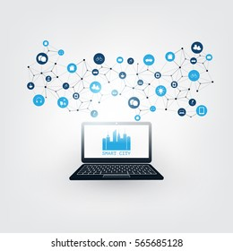 Smart City, Internet of Things or Cloud Computing Design Concept with Icons - Digital Network Connections, Technology Background