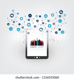 Smart City, Internet of Things Design Concept with Tablet PC and Icons - Digital Network Connections, Technology Background