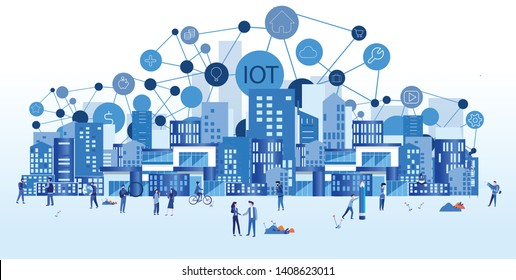 Smart city Internet of things , IOT, network, Everything connectivity device concept, business with internet, with small people around. Vector illustration for web, print, presentation.