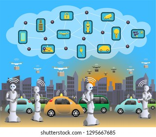 Smart city with Internet of Things, where everything is connected using 5G technique, Self driving vehicles, robots and quad copters using the latest technology. Vector Illustration.