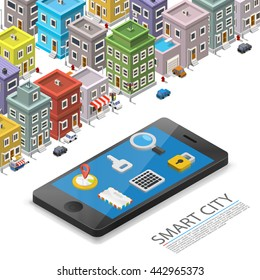 Smart city isometric, app device mark, object on a white background, Vector illustration
