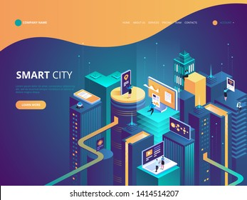 Smart city isometric illustration. Intelligent buildings. Streets of the city connected to computer network. Internet of things concept. Business center with skyscrapers.