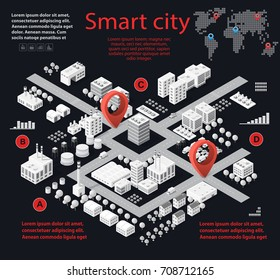 Smart city isometric infographics with skyscrapers, buildings and roads. Concept of urban development and statistics in graphic illustrations