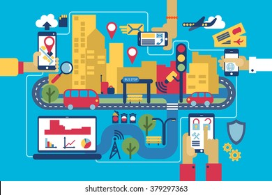 smart city landscape with defferent devices. mobile icons and simbols. mobile infographic
