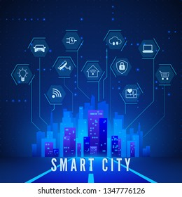Smart City Landscape and System Monitoring and Control Icons Set. Modern Smart City Concept in Blue Colors. Technology Background. Vector illustration