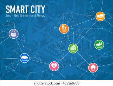 smart city line drawing illustration with various technological icons, futuristic cityscape and modern lifestyle, smart gird, IoT(Internet of Things), CPS(Cyber-Physical System)