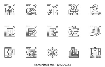 Smart City Line Icons Set. Intelligent Urbanism, Interactivity Of Urban Services, Electric Public Transport, Emissions Reduction. Editable Stroke. 48x48 Pixel Perfect.