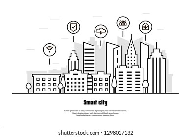 Smart city in line style. Modern cityscape background vector illustration. Communication network.