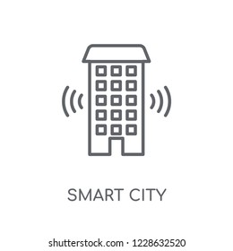 Smart city linear icon. Modern outline Smart city logo concept on white background from Smarthome collection. Suitable for use on web apps, mobile apps and print media.