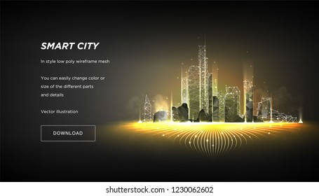 Smart city low poly wireframe on dark background.City hi tech abstract or metropolis.Intelligent building automation system business concept.Polygonal space low poly with connected dots and lines