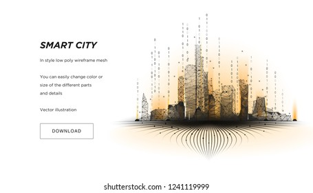 Smart city low poly wireframe on white background.City hi tech abstract or metropolis.Intelligent building automation system business concept.Polygonal space low poly with connected dots and lines.Vec