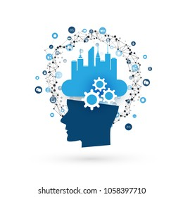 Smart City, Machine Learning, Artificial Intelligence, Cloud Computing and Networks Design Concept with Icons and Human Head