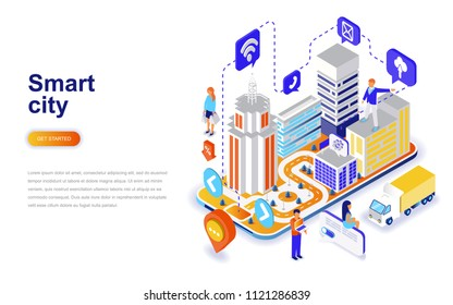 Smart city modern flat design isometric concept. Architecture and people concept. Landing page template. Conceptual isometric vector illustration for web and graphic design.