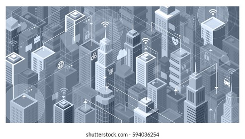 Smart city with modern skyscrapers: they are connecting to the internet network, sharing data and services online