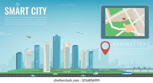 Smart city navigation. Tablet with city location. Modern city background. Vector illustration