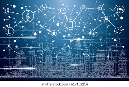 Smart City with Neon Buildings, Networks and Internet of Things Icons. Vector Illustration.