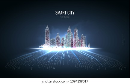 Smart city or network wireless.  Low poly wireframe. Building automation with computer board illustration. Low poly wireframe mesh. Isolated on a dark blue background. Plexus lines and points