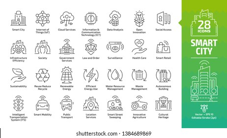 Smart city outline icon set with infrastructure efficiency technology, future digital urban, autonomous building and home, internet of things, innovation business editable stroke line symbols.