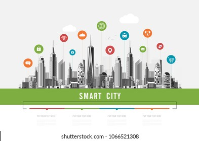 Smart city with smart services and icons, internet of things, networks, commercial, business and augmented reality concept vector design
