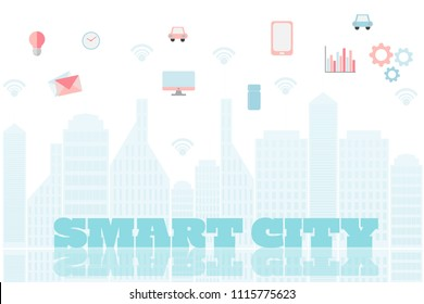 smart city with services and icons internet of things networks and augmented concept eps10 vector illustration