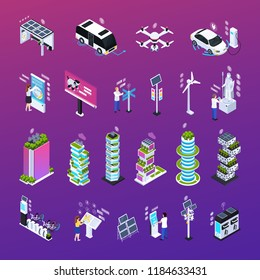 Smart city set with technology symbols isometric isolated vector illustration