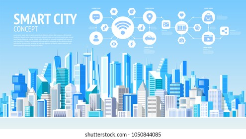 Smart city. Social Media Communication Internet Network Connection City Skyscraper View Cityscape Background Vector Illustration