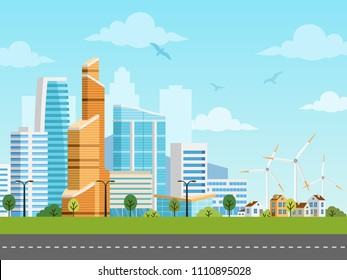Smart city and suburb with skyscrapers and private houses vector panorama. Buildings, skyscrapers and windmills