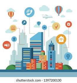 Smart city technology icons infographics collection, digital vector advert