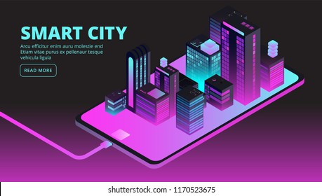 Smart city technology. Intelligent buildings in future city. Isometric 3d vector banner. Illustration of isometric smart city building on smartphone