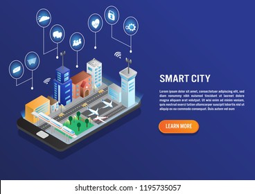 Smart city technology with smart service in isometric vector design