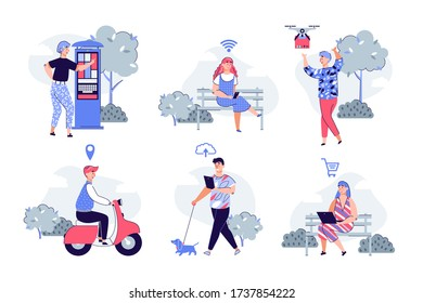 Smart city technology set with people using gadgets in urban spaces