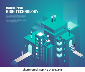 Smart city technology. Web business, analytics and management. Business growth analytics or strategy development. High technology concept. Vector illustration