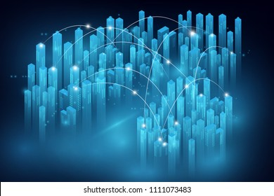 Smart city and telecommunication network concept. abstract mixed media.vector illustration