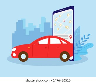 Smart city transportation concept, Online car sharing with red car and smartphone, can use for landing page, template, ui, web, mobile app, poster, banner, flyer. Vector illustration.