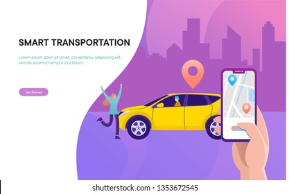 Smart city transportation vector illustration concept,  Online car sharing \n with cartoon character and smartphone, \ncan use for, landing page, template, ui, web, mobile app, poster, banner, flyer