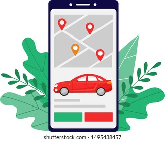 Smart city transportation vector illustration concept, Online red car sedan sharing in screen of smartphone, can use for landing page, template, ui, web, mobile app, poster, banner, flyer.