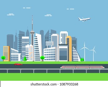 Smart city urban landscape, modern  skyscrapers, electric train in downtown, vector illustration.