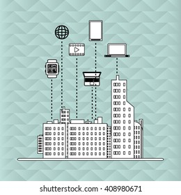 Smart city vector design, editable graphic