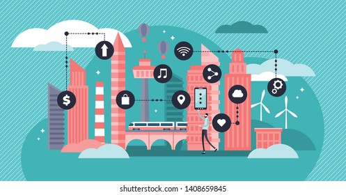 Smart city vector illustration. Flat tiny urban city data collection persons concept. Mobile wireless communication with town water, transport and energy infrastructure. Futuristic sensors innovation.