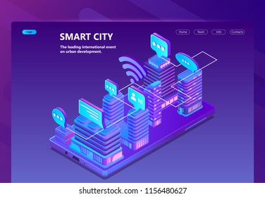 Smart city vector site with 3d isometric smart megapolis, city in violet colors. Network portal with button for urban development. Collection of ultraviolet skyscrapers on smartphone, buildings