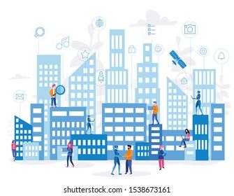Smart city for web page, banner, presentation, social media. Intelligent Smart building, IOT, Vector Illustration