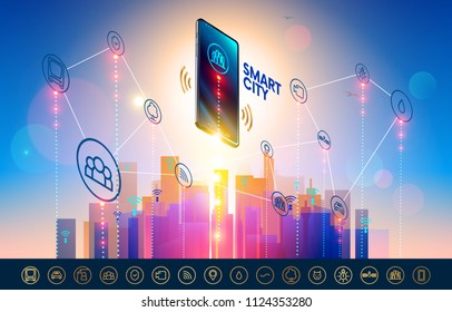 Smart city wireless communication network with smart phone. City infrastructure icons set. Isometric Smartphone over urban landscape connected with  icons town iot.