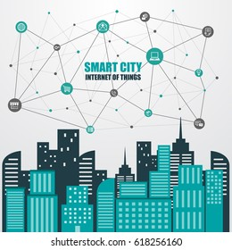 smart city and wireless communication network, abstract image visual, internet of things concept