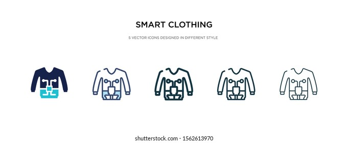smart clothing icon in different style vector illustration. two colored and black smart clothing vector icons designed in filled, outline, line and stroke style can be used for web, mobile, ui